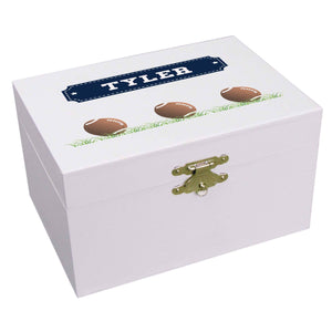Personalized Ballerina Jewelry Box with Footballs design