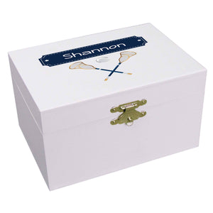 Personalized Ballerina Jewelry Box with Lacrosse Sticks design
