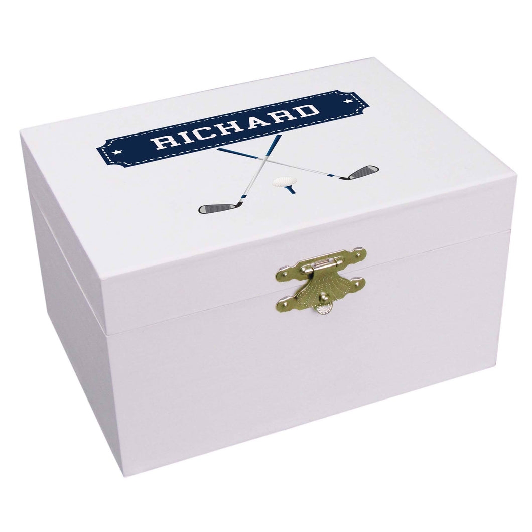 Personalized Ballerina Jewelry Box with Golf design