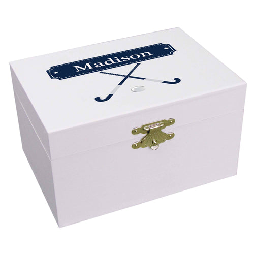 Personalized Ballerina Jewelry Box with Field Hockey design