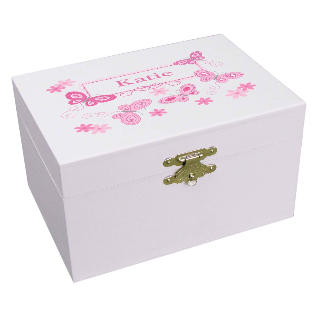 Personalized Pink butterfly Ballerina Jewelry Box