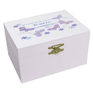 Personalized Ballerina Jewelry Box with Butterflies Lavender design