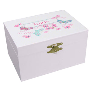 Personalized Ballerina Jewelry Box with Butterflies Aqua Pink design