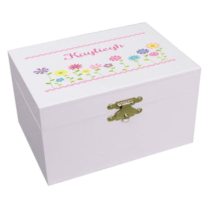 Personalized Stemmed Flowers Ballerina Jewelry Box