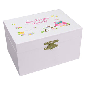 Personalized Ballerina Jewelry Box with Pink Owl design