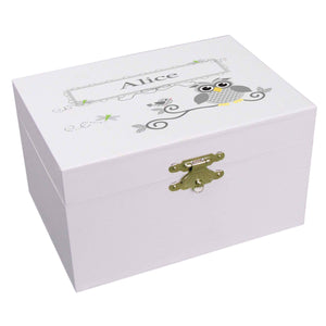 Personalized Ballerina Jewelry Box with Gray Owl design