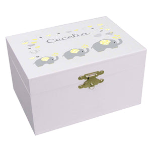 Personalized Ballerina Jewelry Box with Yellow Elephants design