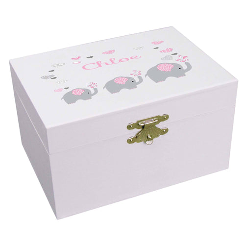 Personalized Ballerina Jewelry Box with Pink Elephant design
