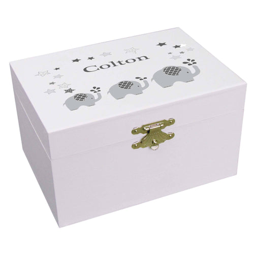 Personalized Ballerina Jewelry Box with Gray Elephant design