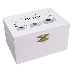 Personalized Ballerina Jewelry Box with Navy Elephant design