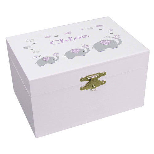 Personalized Ballerina Jewelry Box with Lavender Elephant