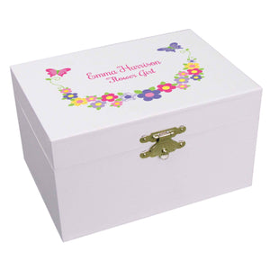 Personalized Ballerina Jewelry Box with Bright Butterflies Garland design