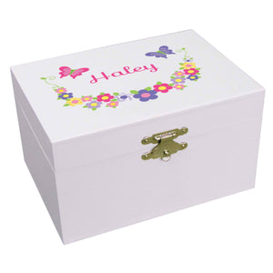 Personalized Ballerina Jewelry Box hot pink purple Butterflies Garland