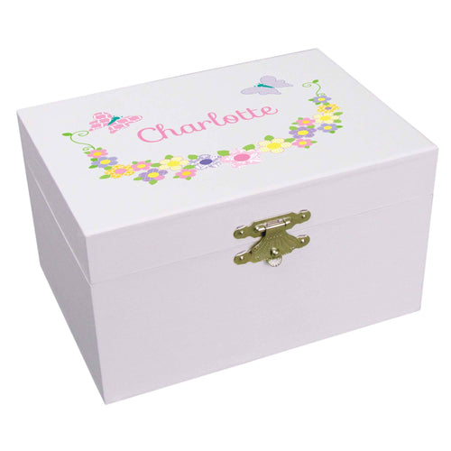 Personalized Ballerina Jewelry Box with Pastel Butterflies design