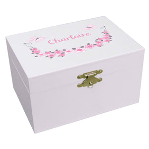 Personalized Ballerina Jewelry Box with Pink and Gray Butterflies design