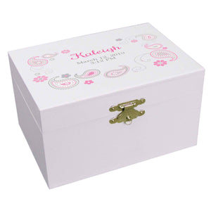 Personalized Ballerina Jewelry Box with Paisley Pink Gray design