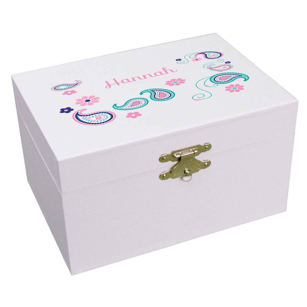 Personalized Ballerina Jewelry Box with Paisley Teal and Pink design