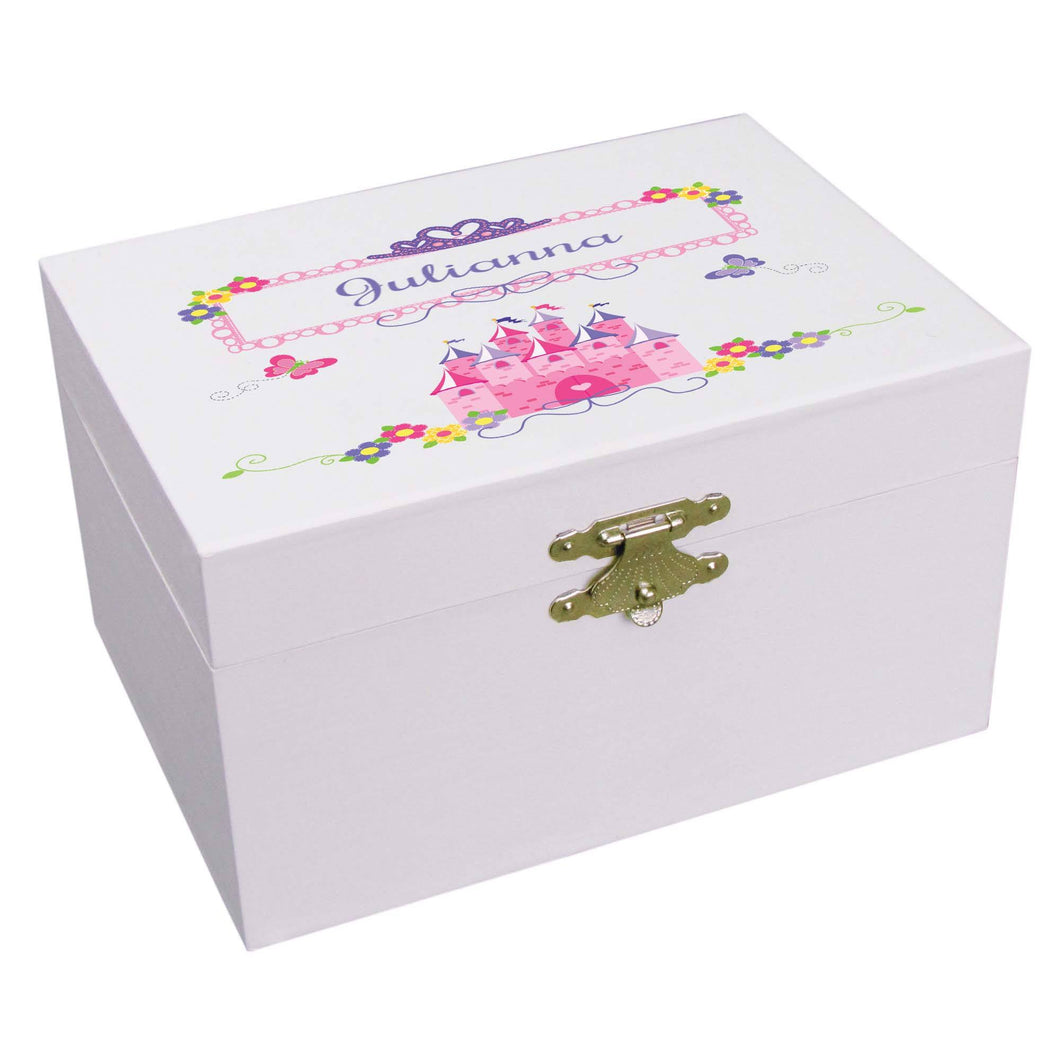 Personalized Ballerina Jewelry Box with Princess Castle design