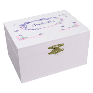 Personalized Ballerina Jewelry Box with Lacey Bow design