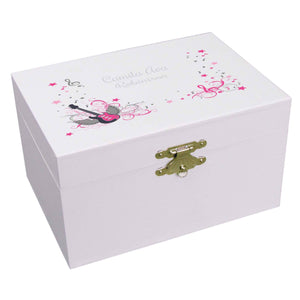 Personalized Ballerina Jewelry Box with Pink Rock Star design