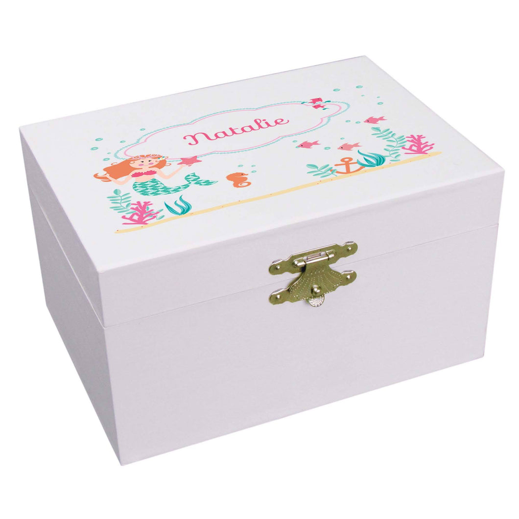 Personalized Ballerina Jewelry Box with Mermaid Princess design
