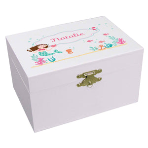 Personalized Ballerina Jewelry Box with Brunette Mermaid Princess design