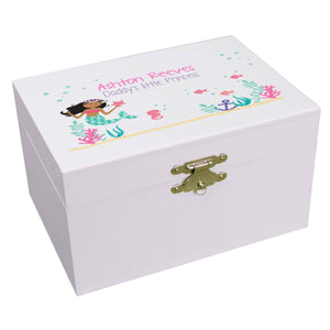 Personalized Ballerina Jewelry Box with African American Mermaid Princess design