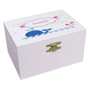Personalized Ballerina Jewelry Box with Pink Whale design
