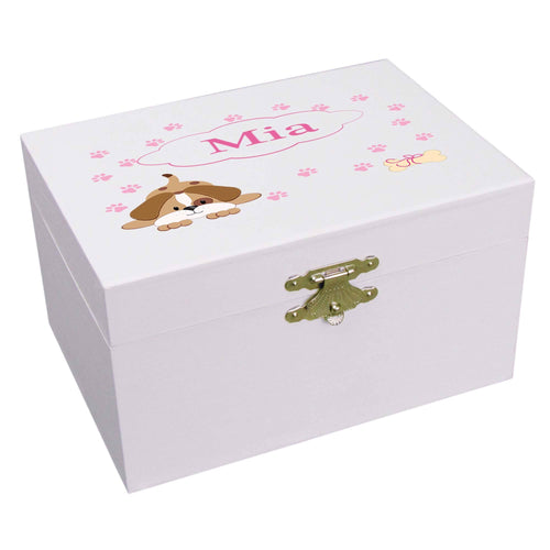 Personalized Ballerina Jewelry Box with Pink Puppy design