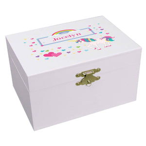 Personalized Unicorn Musical Ballerina Jewelry Box