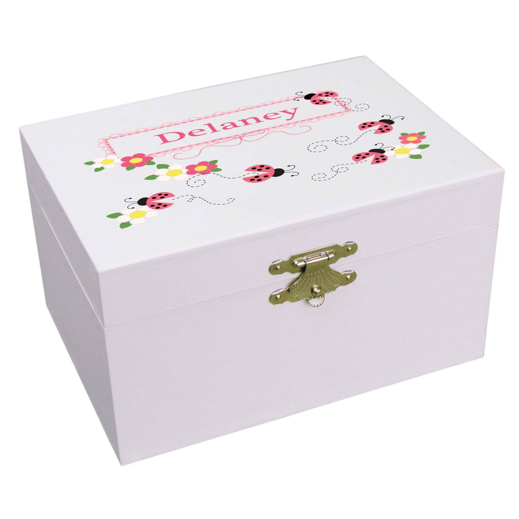 Personalized Ballerina Jewelry Box with Pink Ladybugs design