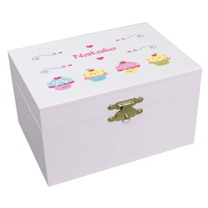 Personalized Ballerina Jewelry Box with Cupcake design
