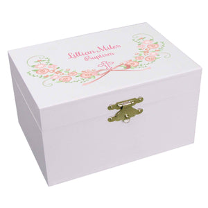 Personalized Ballerina Jewelry Box with pink blush floral cross design