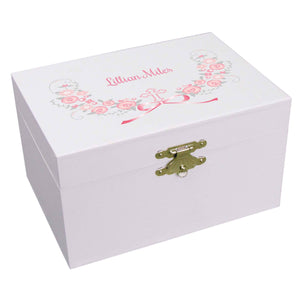 Personalized Ballerina Jewelry Box with Hc Pink Gray Floral Garland design