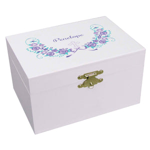 Personalized Ballerina Jewelry Box with lavender floral cross design
