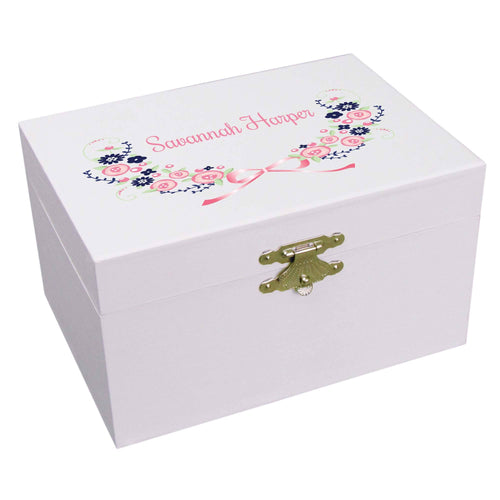 Personalized Ballerina Jewelry Box with Navy Pink Floral Garland design