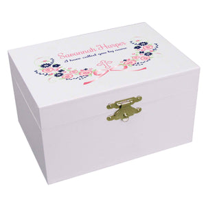 Personalized Ballerina Jewelry Box with Hc Navy Pink Floral Garland design