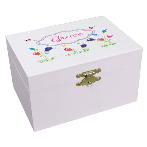 Personalized Ballerina Jewelry Box with English Garden design