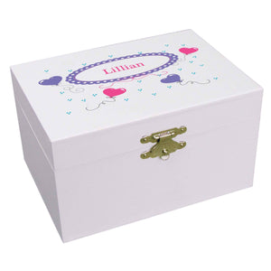 Personalized Ballerina Jewelry Box with Heart Balloons design