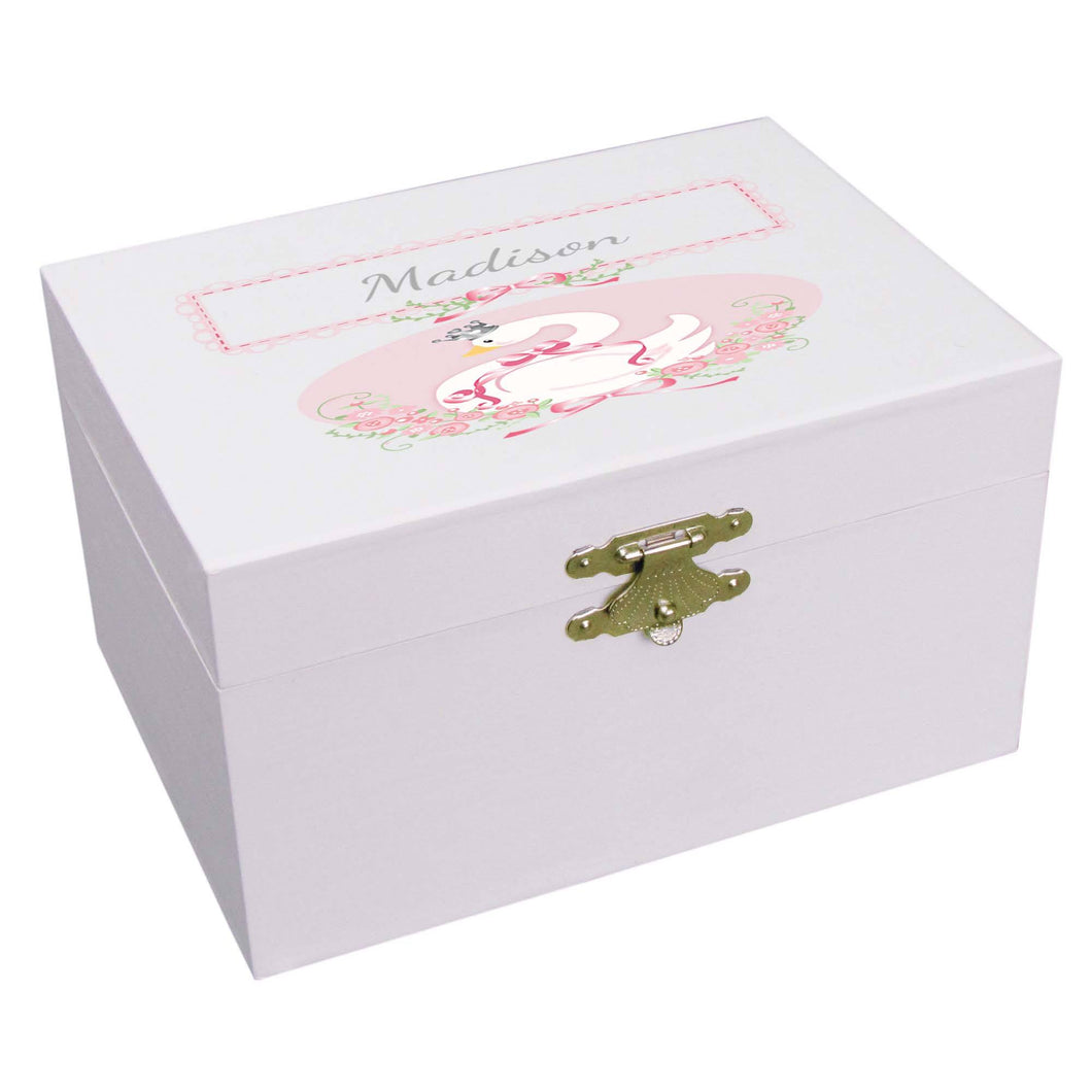 Personalized Ballerina Jewelry Box with Swan design