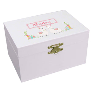 Personalized Ballerina Jewelry Box with Alpaca design