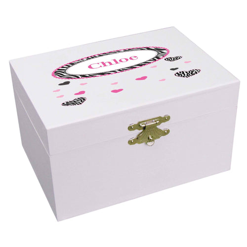 Personalized Ballerina Jewelry Box with Groovy Zebra design