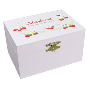 Personalized Ballerina Jewelry Box with Strawberries design
