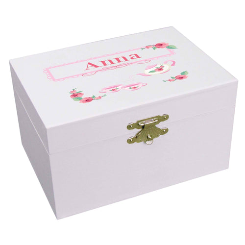 Personalized Ballerina Jewelry Box with Tea Party design