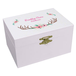 Personalized Ballerina Jewelry Box with Floral Antler design