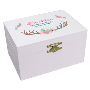 Floral Antler Musical Ballerina Jewelry Box