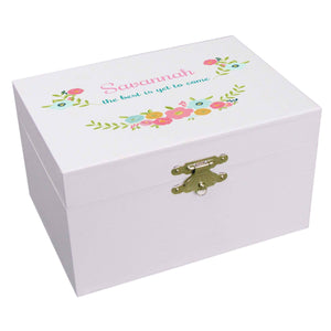 Personalized Ballerina Jewelry Box with Spring Floral design