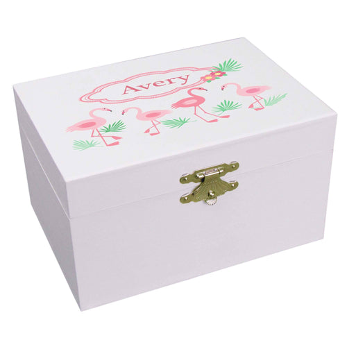 Personalized Ballerina Jewelry Box with Pink Flamingos