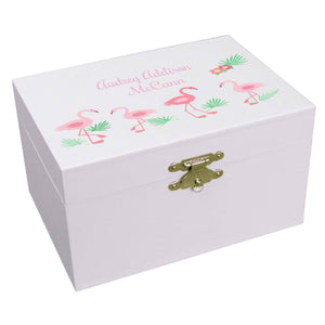 Personalized Ballerina Jewelry Box with Palm Flamingo design