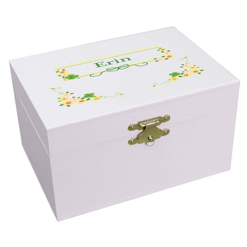 Personalized Ballerina Jewelry Box with Shamrock design